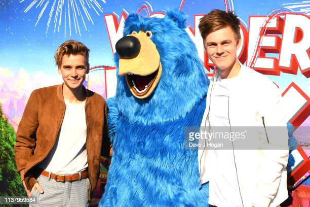 Joe Sugg and Caspar Lee attend the UK Gala screening of WONDER PARK at Vue Leicester Square on March 24 2019 in London England