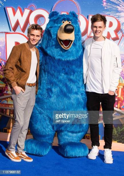 Joe Sugg and Caspar Lee attend the 'Wonder Park' gala screening at Vue Leicester Square on March 24 2019 in London England
