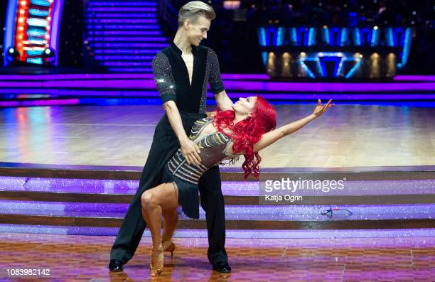 Joe Sugg and Dianne Buswell attend the photocall for the 'Strictly Come Dancing' live tour at Arena Birmingham on January 17 2019 in Birmingham...