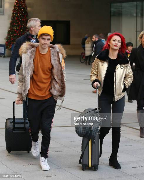 Joe Sugg and Dianne Buswell seen at BBC Radio Studios ahead of this weekends 'Strictly Come Dancing' Final on December 13 2018 in London England