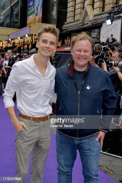 Joe Sugg and Justin Fletcher attend the 'A Shaun The Sheep Movie Farmageddon' premiere with EcoAge Woolmark at Odeon Luxe Leicester Square on...
