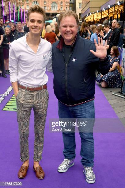 Joe Sugg and Justin Fletcher attend the Shaun The Sheep Movie Farmageddon UK Premiere at Odeon Luxe Leicester Square on September 22 2019 in London...