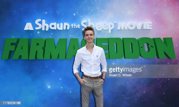 Joe Sugg attends the Shaun The Sheep Movie Farmageddon UK Premiere at Odeon Luxe Leicester Square on September 22 2019 in London England