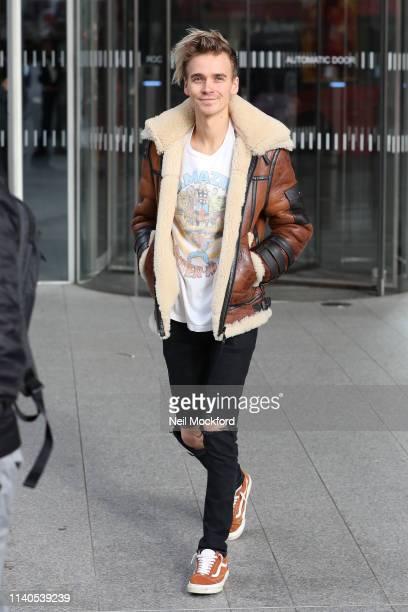 Joe Sugg leaving the Chris Evans Breakfast Show at Virgin Radio on April 05 2019 in London England