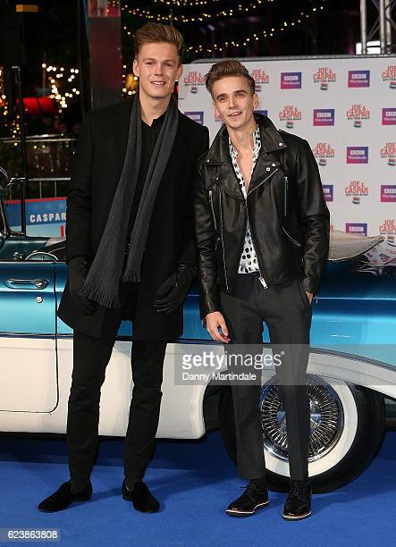 Joe Suggs and Caspar Lee attends the UK Premiere of Joe Casper Hit The Road USA at Cineworld Leicester Square on November 17 2016 in London England