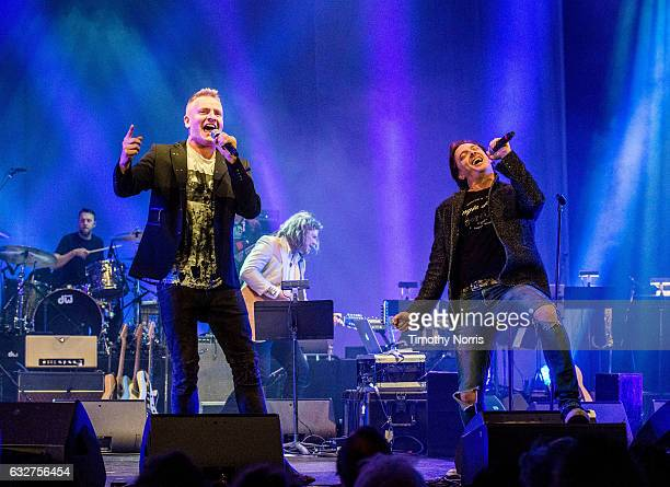 Joe Sumner and Donovan Leitch perform during a night of celebrating David Bowie at The Wiltern on January 25 2017 in Los Angeles California