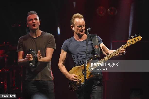 Joe Sumner and Sting perform onstage during the Sting 57th 9th World Tour at Hammerstein Ballroom on March 14 2017 in New York City