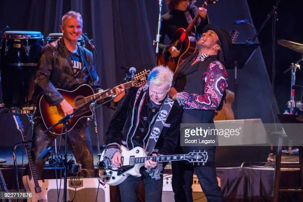 Joe Sumner Gerry Leonard and Bernard Fowler perform during the Celebrating David Bowie concert at The Royal Oak Music Theater on February 19 2018 in...
