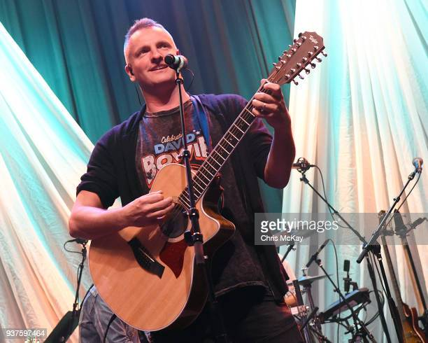 Joe Sumner of Celebrating David Bowie soundchecks at Buckhead Theatre on March 18 2018 in Atlanta Georgia