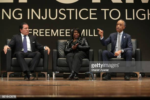 Joe Tacopina Kathy Williams and Reverend Al Sharpton attend Reform Bringing Injustice To Light at Irvine Auditorium on March 13 2018 in Philadelphia...