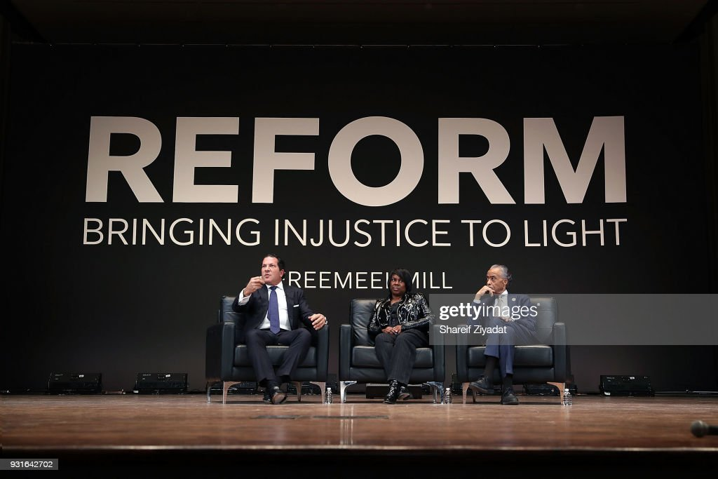 Joe Tacopina, Kathy Williams and Reverend Al Sharpton attend Reform: Bringing Injustice To Light at Irvine Auditorium on March 13, 2018 in Philadelphia, Pennsylvania.