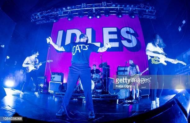 Joe Talbot, Adam Devonshire, Mark Bowen, Lee Kiernan and Jon Beavis of Idles perform at The O2 Institute Birmingham on October 26, 2018 in...