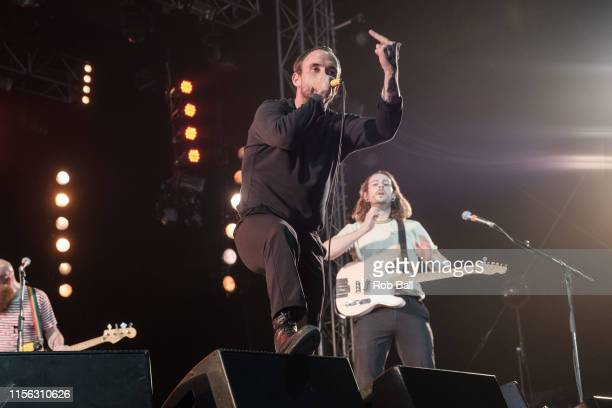 Joe Talbot from Idles performs on stage during Isle of Wight Festival 2019 at Seaclose Park on June 16 2019 in Newport Isle of Wight