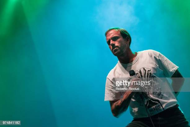 Joe Talbot of Idles performs on stage at Usher Hall on June 14 2018 in Edinburgh Scotland