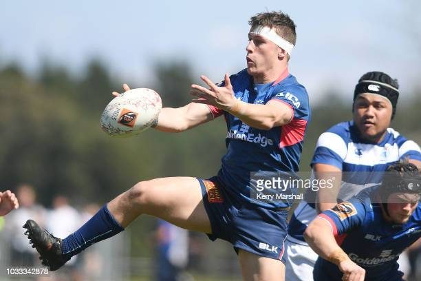 Joe Taylor of Tasman tries to take a high ball during the Jock Hobbs U19 Rugby Tournament on September 15 2018 in Taupo New Zealand