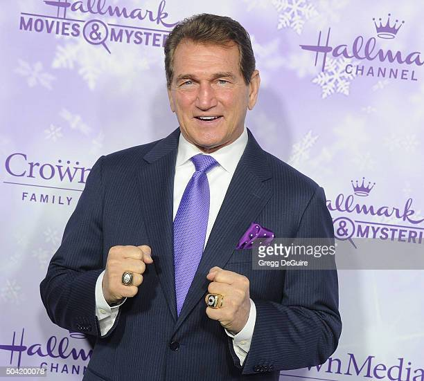 Joe Theismann arrives at the Hallmark Channel and Hallmark Movies and Mysteries Winter 2016 TCA Press Tour at Tournament House on January 8, 2016 in...