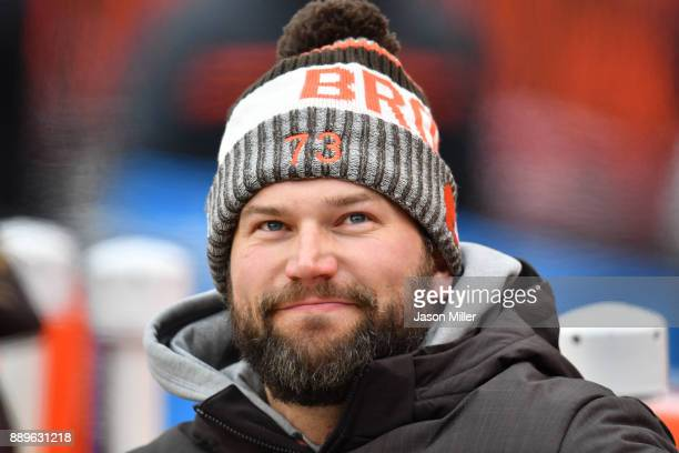 Joe Thomas of the Cleveland Browns looks on from the sidelines durning the game against the Green Bay Packers at FirstEnergy Stadium on December 10...