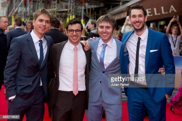 Joe Thomas Simon Bird James Buckley and Blake Harrison attends the World Premiere of 'The Inbetweeners 2' at Vue West End on August 5 2014 in London...