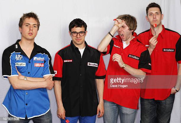 Joe Thomas, Simon Bird, James Buckley and Blake Harrison of The Inbetweeners poses for a portrait session to promote the third series of the show to...