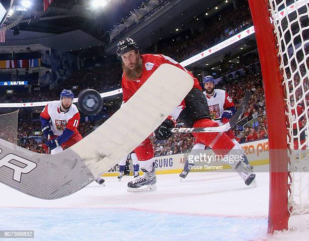 Joe Thornton of Team Canada scores a second period goal against Michal Neuvirth of Team Czech Republic during the World Cup of Hockey tournament at...