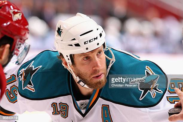 Joe Thornton of the San Jose Sharks awaits a face off during the NHL game against the Phoenix Coyotes at Jobingcom Arena on January 12 2010 in...