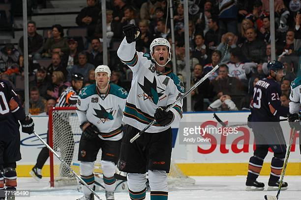 Joe Thornton of the San Jose Sharks celebrates a late goal to tie the game against the Edmonton Oilers on October 4 2007 at Rexall Place in Edmonton...