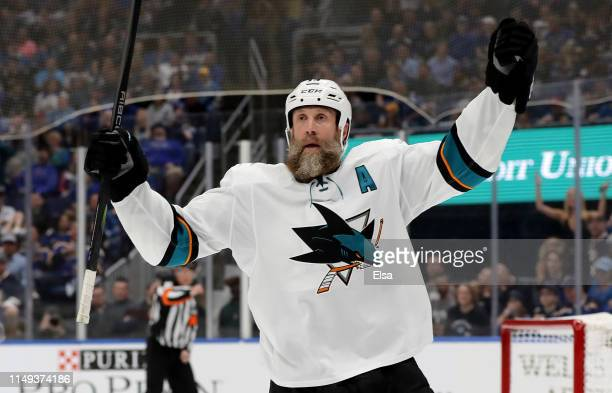 Joe Thornton of the San Jose Sharks celebrates after scoring a goal on Jordan Binnington of the St Louis Blues during the first period in Game Three...