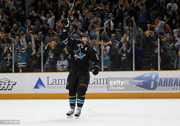 Joe Thornton of the San Jose Sharks celebrates after they beat the Detroit Red Wings in Game Seven of the Western Conference Semifinals during the...