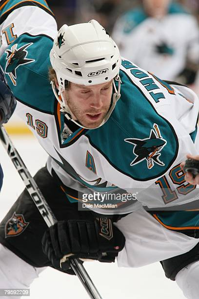 Joe Thornton of the San Jose Sharks gets set on a face off against the Edmonton Oilers during their NHL game on January 29 2008 in Edmonton Alberta...