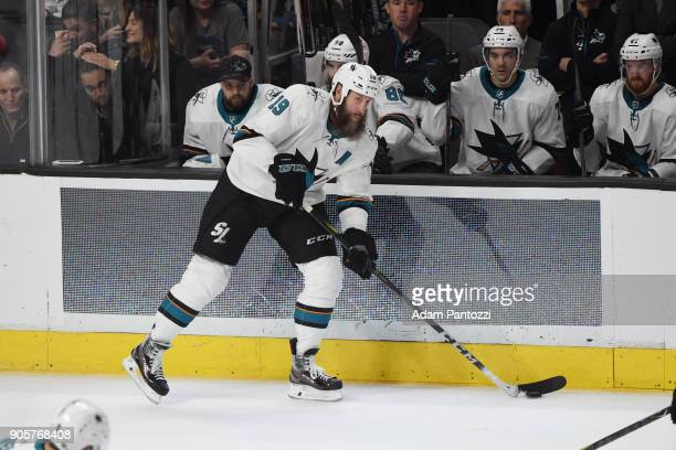 Joe Thornton of the San Jose Sharks handles the puck during a game against the Los Angeles Kings at STAPLES Center on January 15 2018 in Los Angeles...