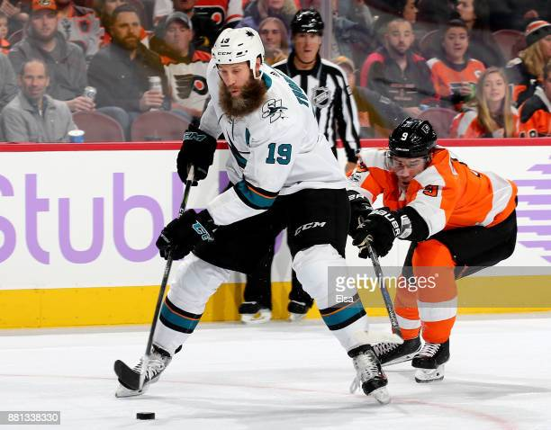 Joe Thornton of the San Jose Sharks heads for the net as Ivan Provorov of the Philadelphia Flyers defends on November 28 2017 at Wells Fargo Center...