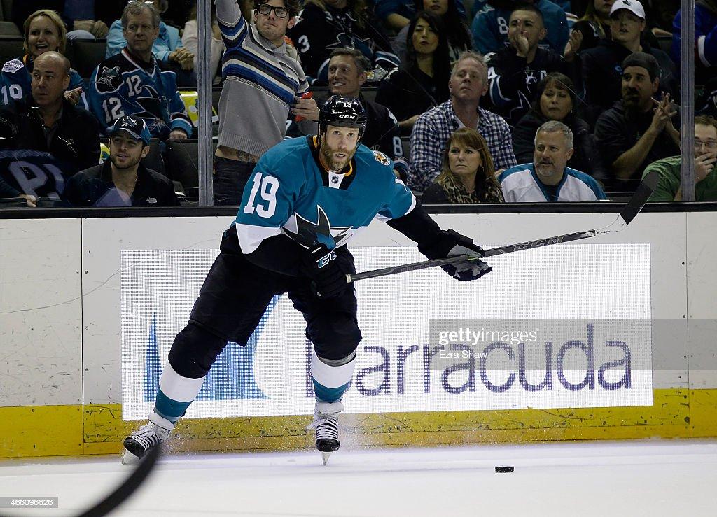 Joe Thornton #19 of the San Jose Sharks in action against the Ottawa Senators at SAP Center on February 28, 2015 in San Jose, California.