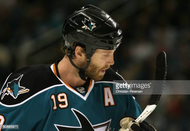Joe Thornton of the San Jose Sharks inspects the blade of his stick during game two of the Western Conference Semifinals of the 2008 NHL Stanley Cup...
