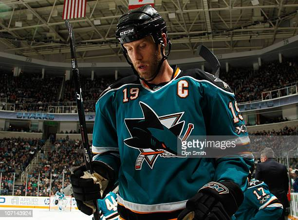 Joe Thornton of the San Jose Sharks jumps on the ice against the Columbus Blue Jackets during an NHL game on November 20 2010 at HP Pavilion at San...