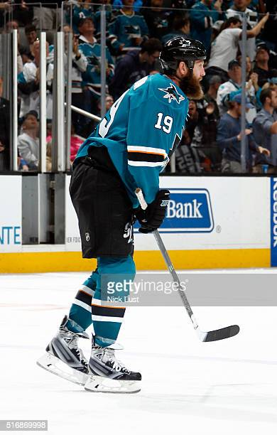 Joe Thornton of the San Jose Sharks keeps track of the puck during a NHL game at the SAP Center at San Jose on March 19, 2016 in San Jose, California.