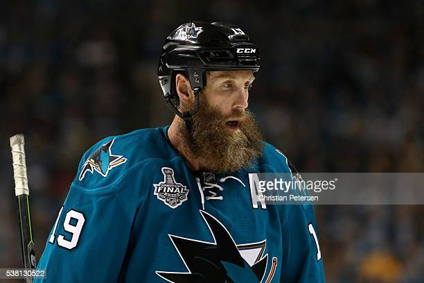 f9524f382 Joe Thornton of the San Jose Sharks looks on against the Pittsburgh  Penguins in Game Three. 2016 NHL Stanley Cup ...