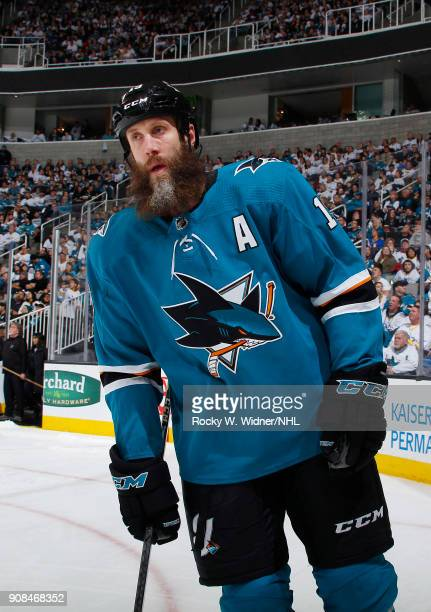 Joe Thornton of the San Jose Sharks looks on during the game against the Arizona Coyotes at SAP Center on January 13 2018 in San Jose California