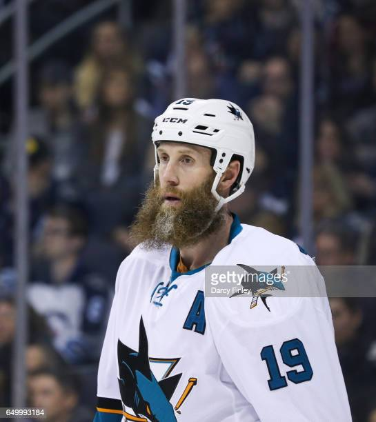Joe Thornton of the San Jose Sharks looks on during third period action against the Winnipeg Jets at the MTS Centre on March 6 2017 in Winnipeg...
