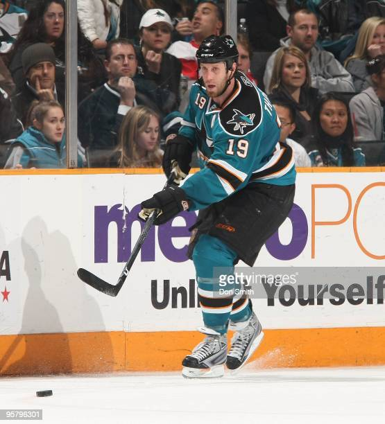 Joe Thornton of the San Jose Sharks passes the puck during an NHL game against the Detroit Red Wings on January 9, 2010 at HP Pavilion at San Jose in...