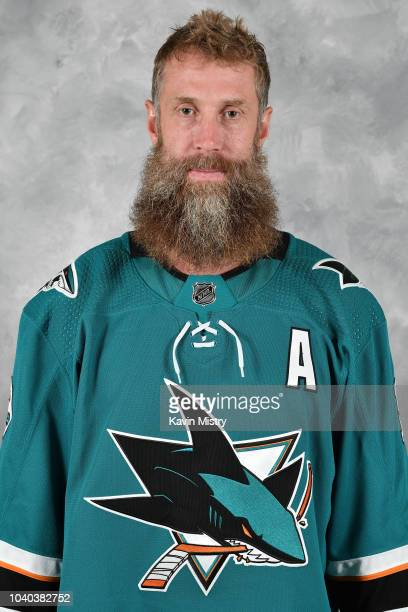 Joe Thornton of the San Jose Sharks poses for his official headshot for the 20182019 season at Solar4America on September 13 2018 in San Jose...