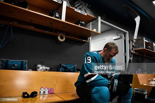 Joe Thornton of the San Jose Sharks prepares to take the ice for warmups against the St. Louis Blues in Game Two of the Western Conference Final...