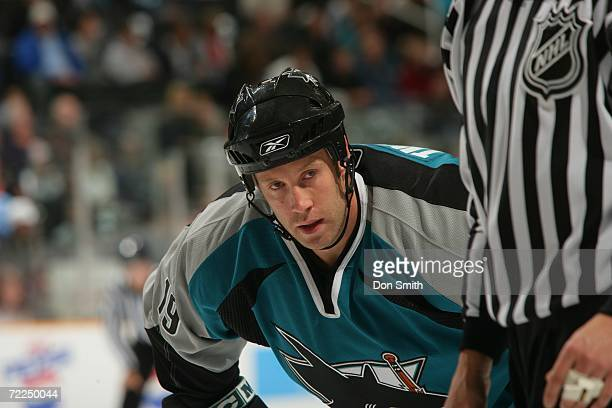 Joe Thornton of the San Jose Sharks readies for a faceoff during a preseason game against the Calgary Flames on September 30 2006 at the HP Pavilion...