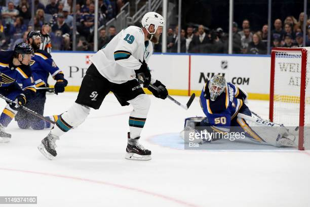 Joe Thornton of the San Jose Sharks scores a goal on Jordan Binnington of the St Louis Blues during the first period in Game Three of the Western...