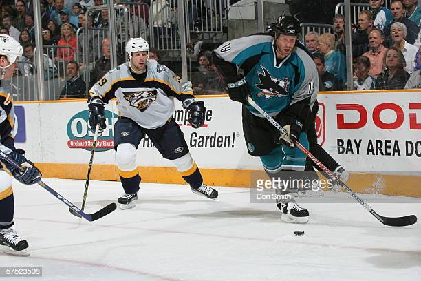 Joe Thornton of the San Jose Sharks skate with the puck during game three of the Western Conference Quarterfinals against the Nashville Predators on...