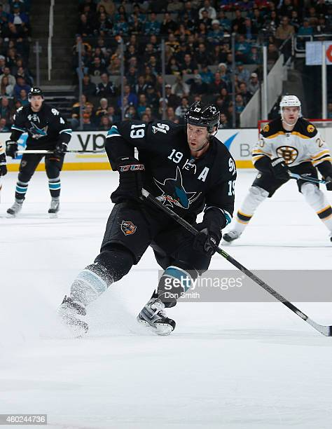 Joe Thornton of the San Jose Sharks skates after the puck against the Boston Bruins during an NHL game on December 4, 2014 at SAP Center in San Jose,...