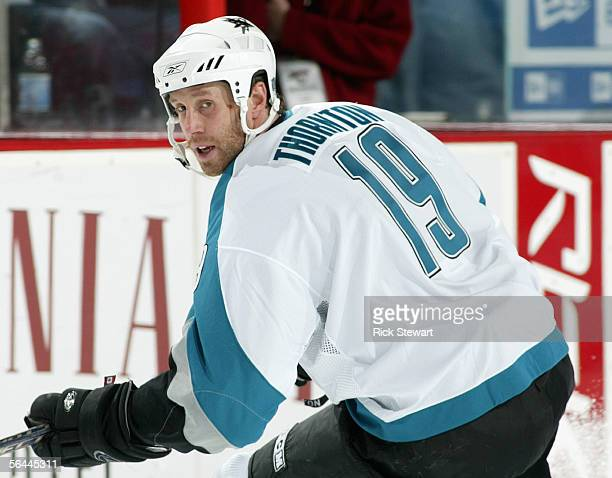 Joe Thornton of the San Jose Sharks skates against the Buffalo Sabres during their NHL game on December 2, 2005 at HSBC Arena in Buffalo, New York....
