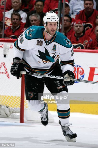 Joe Thornton of the San Jose Sharks skates against the Calgary Flames during game four of the Western Conference Quarterfinals of the 2008 NHL...