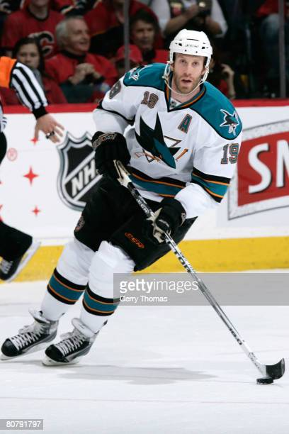Joe Thornton of the San Jose Sharks skates against the Calgary Flames on April 20, 2008 of the 2008 NHL conference quarter-final series at Pengrowth...