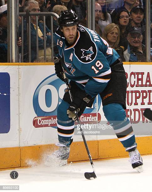 Joe Thornton of the San Jose Sharks skates against the Phoenix Coyotes during an NHL game on March 28, 2009 at HP Pavilion at San Jose in San Jose,...
