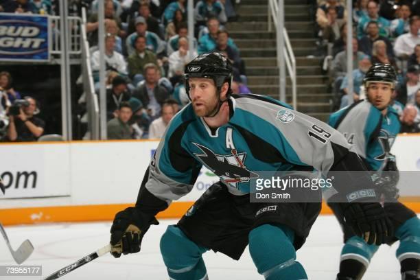 Joe Thornton of the San Jose Sharks skates during Game 4 of the 2007 Western Conference Quarterfinals against the Nashville Predators on April 18,...